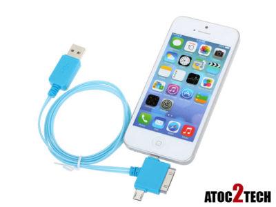 cable ipad iphone lumineux bleu