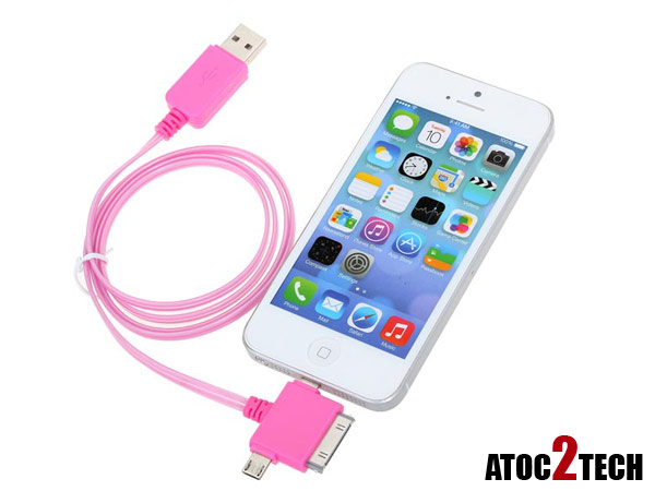 cable ipad iphone lumineux rose