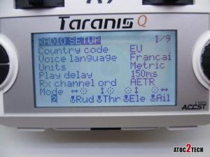 taranis Q X7 choix mode 1 ou 2