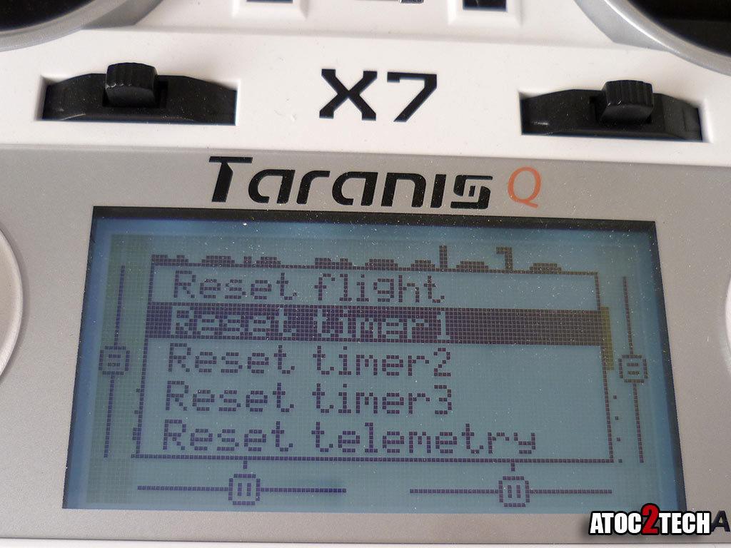 taranis x7 remise à zéro compteur suite